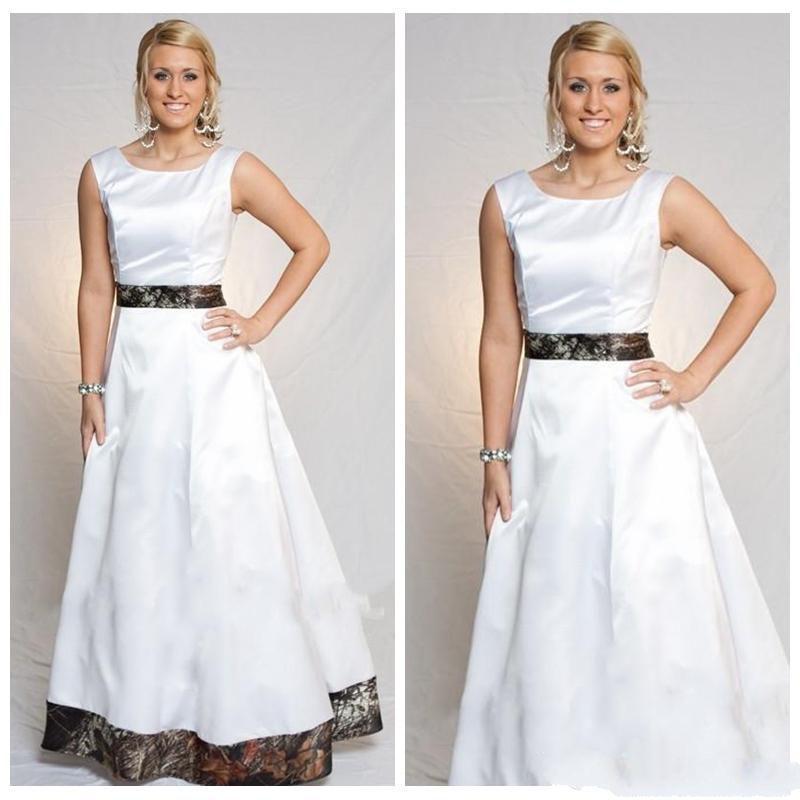 Elegante Jewel Neck una linea di abiti da sposa Camo semplice camuffamento nuziale Gowns 2020 lungo Vestidos de mariage Plus Size Cheap