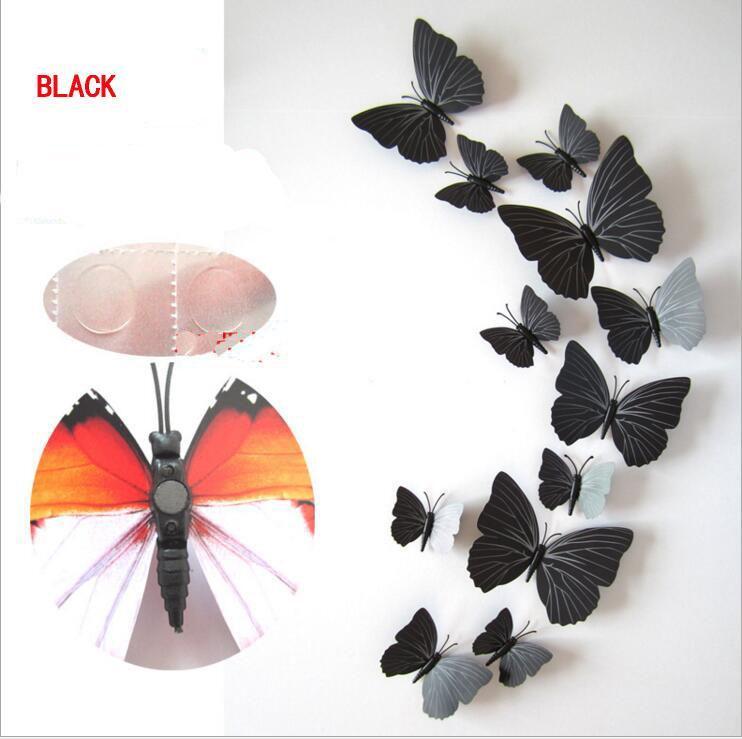 Cendrillon papillon 3D papillon Stickers muraux Papillons 3D Pvc papillon 3D Stickers muraux amovibles Butterflys En Stoc
