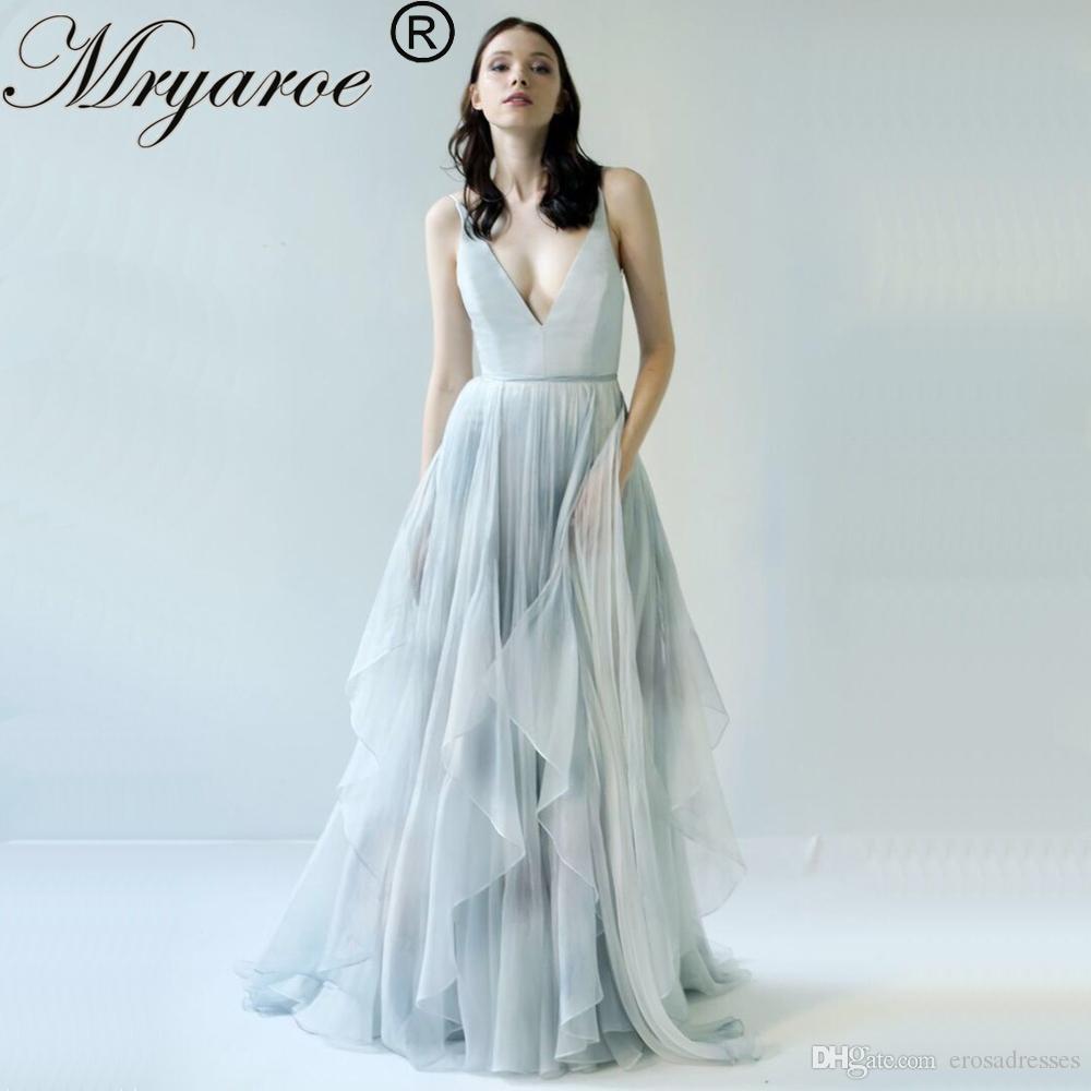 Großhandel Mryarce 19 Limited Grau Und Blau Bedruckt Chiffon Brautkleid  Aus Seide Handbemalt Fancy Open Back Brautkleider Von Erosadresses, 19,19  €