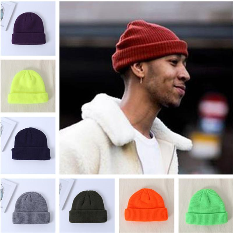 Новая мода шерсти шапки Вязаные шапки Зима Осень теплая Толстая линия Хип-хоп Сплошные цвета арендодателей на открытом воздухе Теплый популярные Вязание шапки Новый стиль