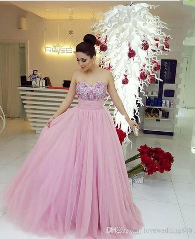 Sweetheart Plus Size Prom Dresses Long Floor A Line Tulle Vestidos De Novia Sexy Back Party Evening Gowns