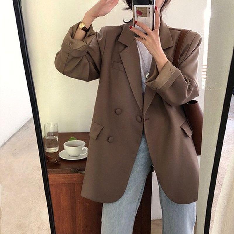 Primavera-Verão Moda solto trespassado Temperamento paletó das mulheres das mulheres Jaquetas e casacos Blazer Mujer