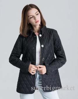 Hot classique! Femmes mode angleterre court coton mince manteau rembourré / haute veste design de marque de qualité pour les femmes taille S-XXL # 19010