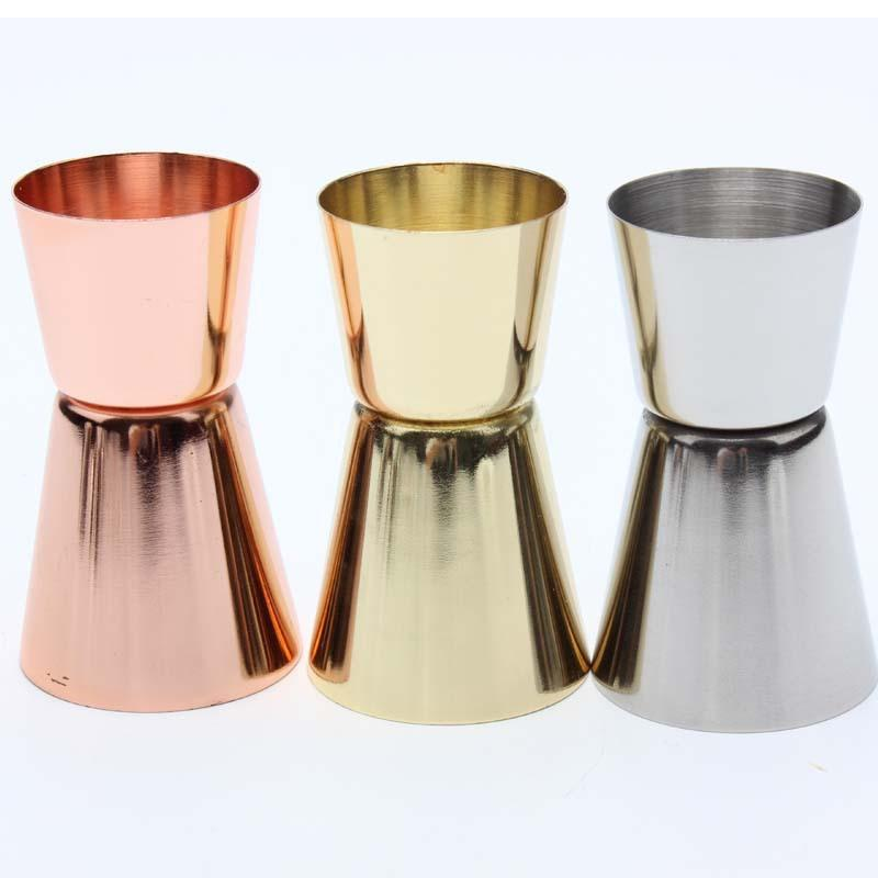 قياس زجاجات رؤساء معدن الذهب تصفيح مزدوج الوالج الفولاذ المقاوم للصدأ 15 / 30ML اوقية (الاونصة) كأس الخمور اللون شريط الأدوات 4 C2 5mc