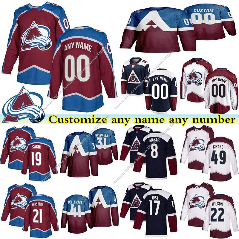 Colorado Avalanche maglie 49 GIRARD 8 MAKAR 19 Sakic 21 FORSBERG 17 JOST 31 GRUBAUER personalizzato qualsiasi numero qualsiasi maglia nome hockey