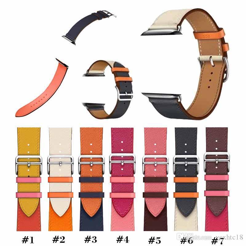 لأبل ووتش سلسلة باند 5 استبدال مربط الساعة المعصم باند مصمم الفاخرة العلامة التجارية جلدية الأشرطة مع محول فرق iwatch 38/40/42/44 مم