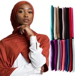 2020 Hot vendita Soild Jersey delle donne sciarpa in cotone islamica negozio hijab copertura-up lungo femminile sciarpe testa foulard