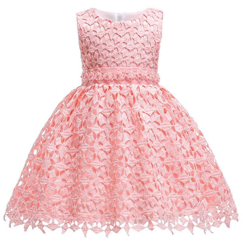 Infant Lace Pearl Formal Evening Wedding Tutu Princess Baby Dress Flower Girls Children Clothing Kids Party For Girl Clothes Y19061501