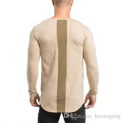 New Design Spring Autumn Long Sleeve Clothes Tight Gyms T Shirts Mens T-shirt Muscle Fitness Bodybuilding Clothes Tees Tops