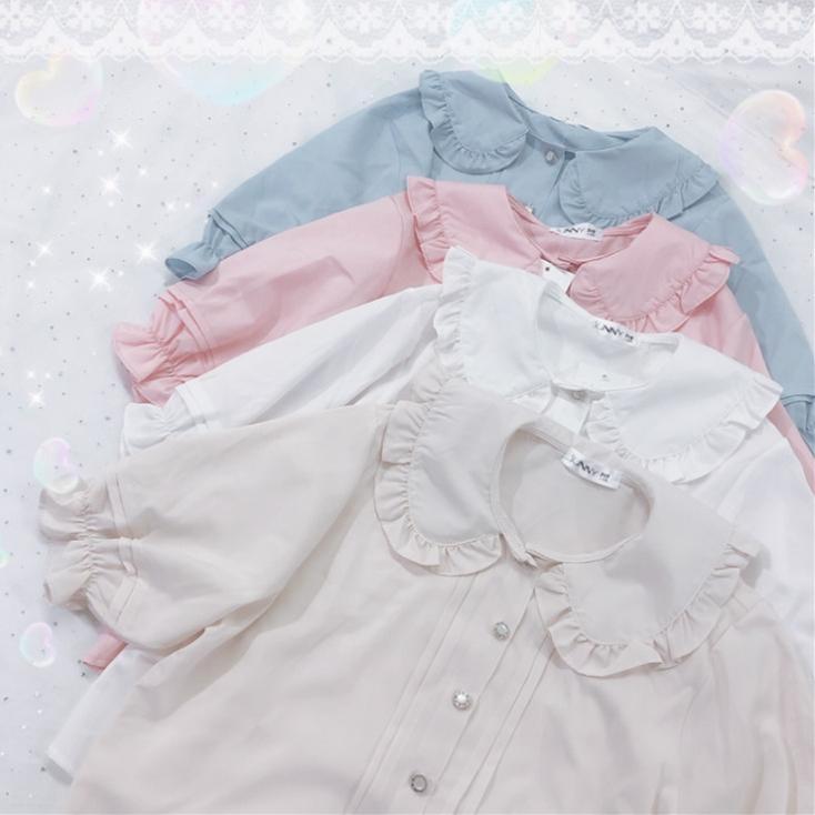 2020 Summer Cute Women's Lolita Shirt Peter Pan Collar Puffy Sleeve Short Sleeve Blouse Tops Girls 4 Colors