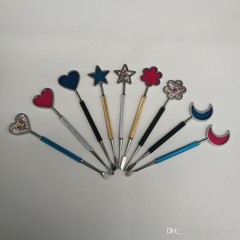 Newest Star Moon Shape Zinc Alloy Metal Spoon Shovel Spade Scoop Portable Decoration Holder For Vape Wax Vaporizer Pen Kit Tool Hot Cake