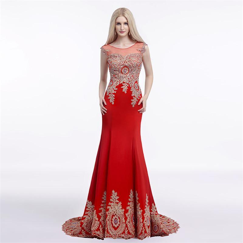 Jewel Sheer decote Sereia Prom Sheer Voltar Sexy Prom Dresses Deus Lace Applique Red Evening vestido branco vestidos de noite elegante