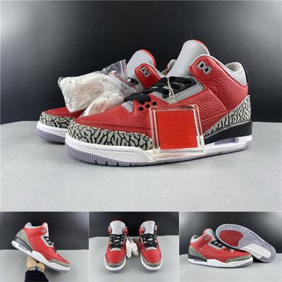 Огонь Красный Цемент Серый Черный Мужские Спортивные кроссовки с коробкой 2020 Новый релиз Аутентичные 3 SE Red Cement Баскетбол обувь 3s США 7-13