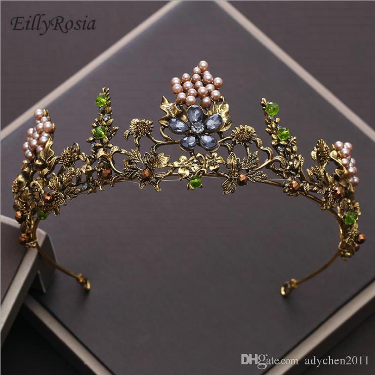 Multi Color Baroque Wedding Crown Pearls Metal Vintage Gold Headband Women's Hair Accessories for Evening Party Costume Headdress