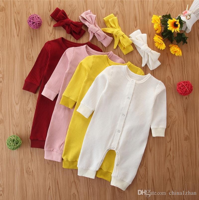 INS neonata vestiti infantili Solido Ragazze pagliaccetto fascia 2pcs pulsante SET singolo appena nato delle tute del manicotto lungo del bambino Outfits 4 colori DW4744