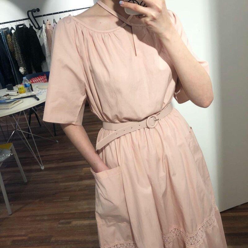 Verão New 2.020 vestido longo Mulheres manga curta Cotton Sashes senhoras vestido de manga curta Mulheres Moda Roupa T700