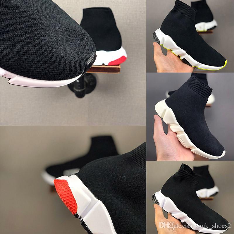 Los nuevos niños de la manera calza los niños / bebé zapatillas de deporte corrientes botas de niño chico y niñas de punto de lana zapatos calcetines de deporte 24-35