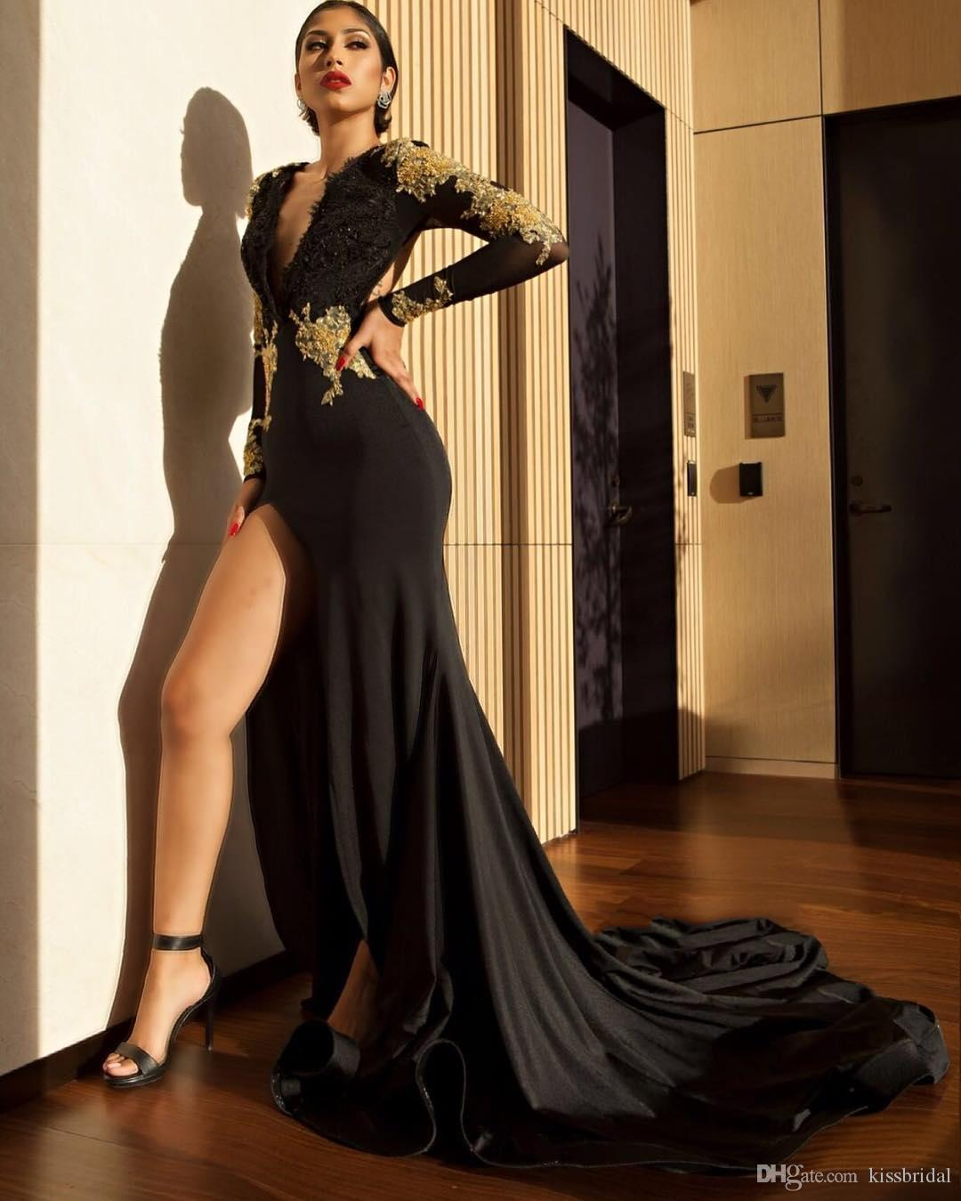 Black and Gold Prom Dresses with Long Sleeve 2019 Sexy Mermaid V-Neck Split Formal Evening Gowns Bead Lace Appliques Cocktail Party Dress