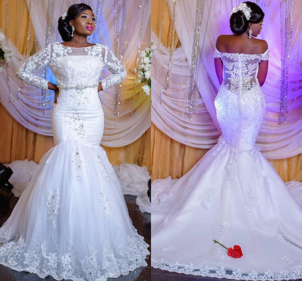 New African Nigerian Spitze Mermaid Brautkleider Applikationen mit langen Ärmeln Schulterfrei bodenlangen Perlen Pailletten Brautkleid Brautkleider