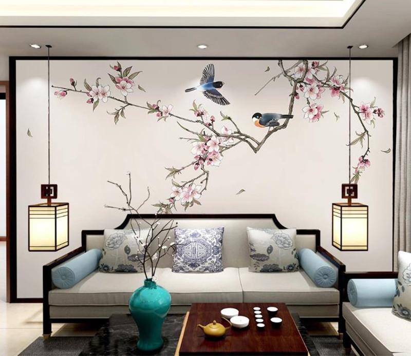 pintados a mano flores de durazno Foto fondo de pantalla personalizado en 3D papel tapiz mural de la pared del dormitorio sala de estar TV de fondo papel de pared 3d