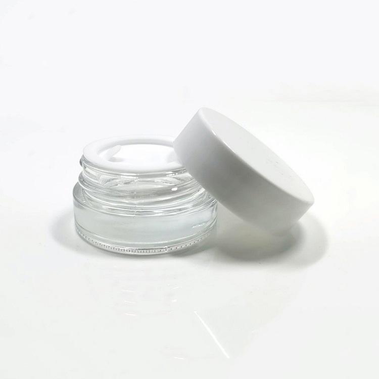 5 g cosmétiques Jars crème récipient transparent / verre givré Bouteille Jar avec blanc PP Couvercles couverture intérieure pour le visage / Crème pour les mains