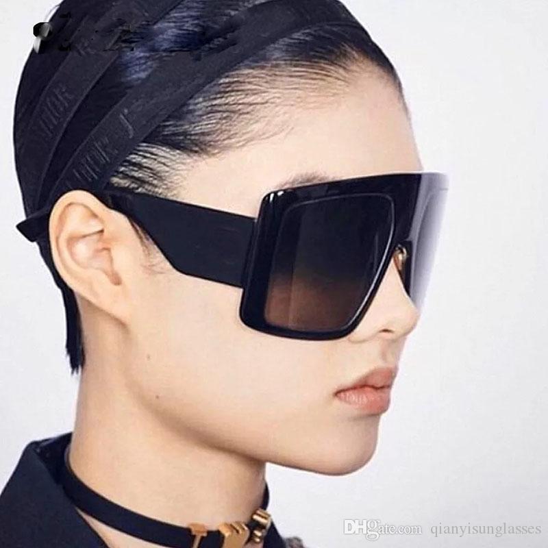 Kare Güneş Kadınlar Siyah Pembe Tek Parça Büyük Çerçeve Güneş Gözlükleri Erkek 2019 Lüks Vintage Gözlük