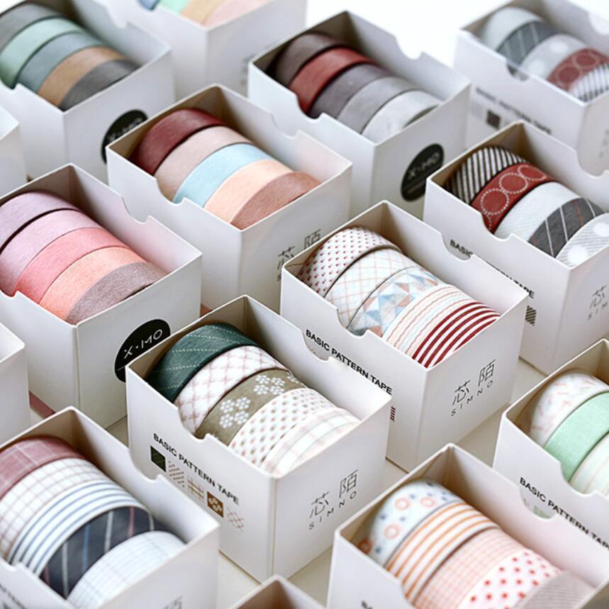 5 pcs / embalar listrada / Grade / Flores de base sólida de papel Cor Washi Tape Fita Adesiva DIY Scrapbooking Etiqueta da etiqueta Masking 2016
