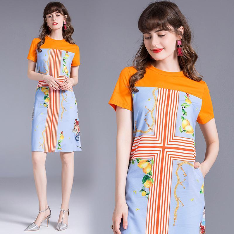 Hayblst Brand Dress женщины новые летние платья с короткими рукавами плюс размер одежды Vestidos высокое качество европейский стиль печати одежды