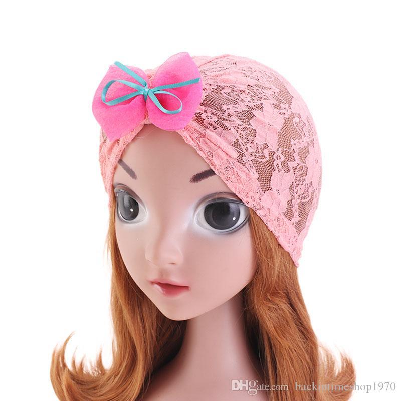 Fashion Kids Lace bow Turban Hat Children Hijab Turbante Hat Baby Beanies head wrap Hair Band Accessories