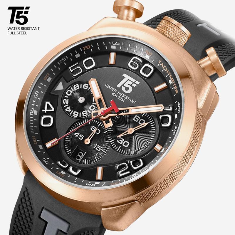 Cinturino in gomma T5 lusso maschio Black Gold regalo Quarzo Cronografo orologio impermeabile di sport degli uomini chea Mens della vigilanza Orologi da polso uomo