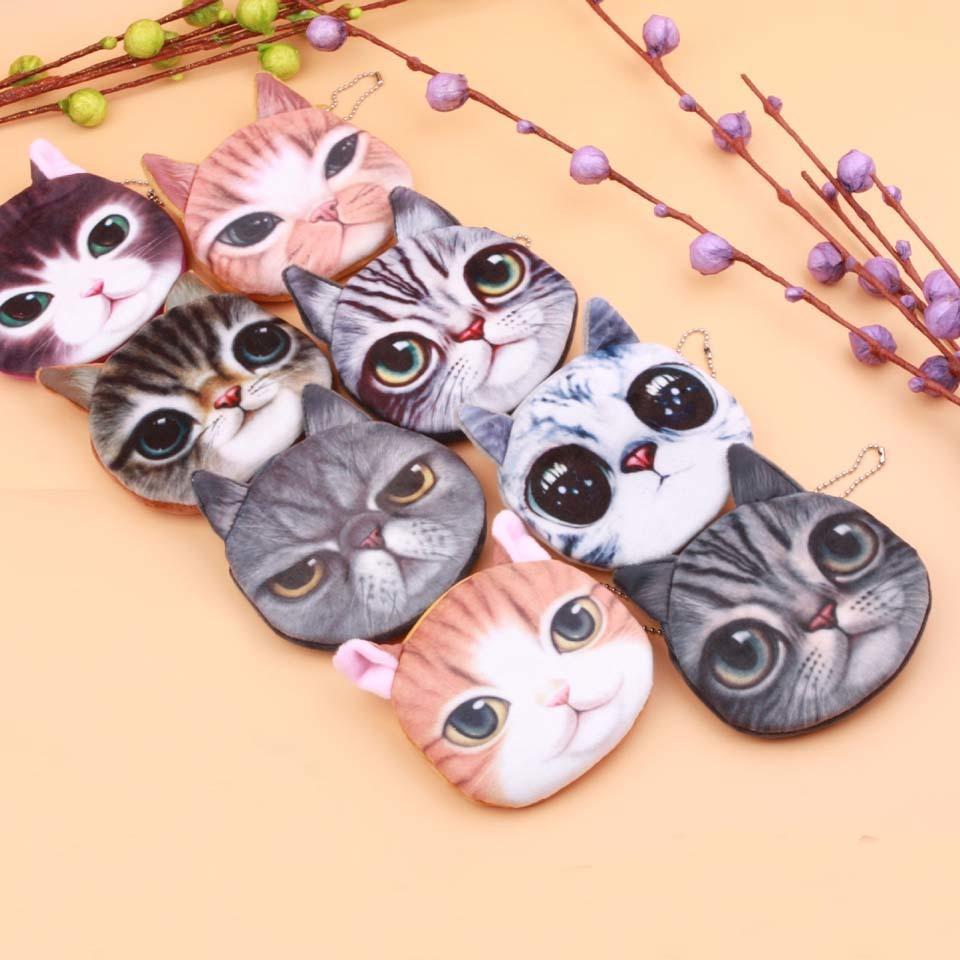 Yüz 20 Stiller / Köpek Yeni 3D Fermuar Kedi Vaka Çocuk Madeni Para Çanta Lady Sevimli Cüzdan Kılıfı Kadınlar Kız Makyaj Buggy Bag baskı