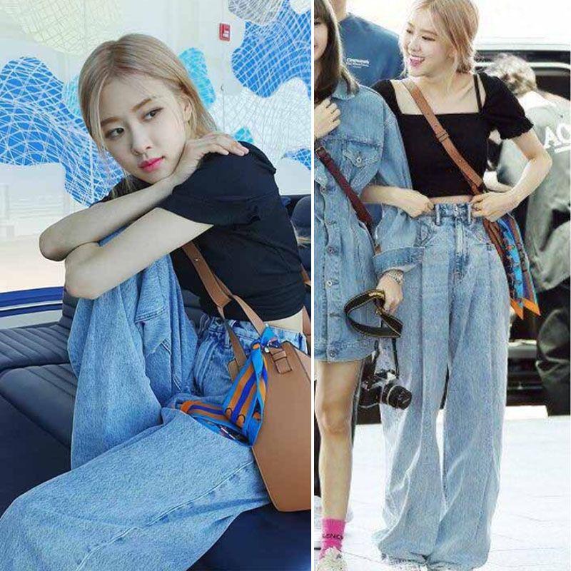 2020 Kpop Blackpink Rose Streetwear The Same Fashion High Waist Jeans Women Jeans Sexy Denim Loose Light Blue Wide Leg Pants From Oott 46 72 Dhgate Com