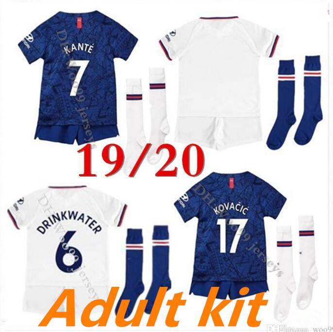 Adult kit 19 20 soccer jersey LAMPARD PULISIC football kits +socks camiseta de fútbol WILLIAN camisa de futebol 2020 KANTE maillot de foot