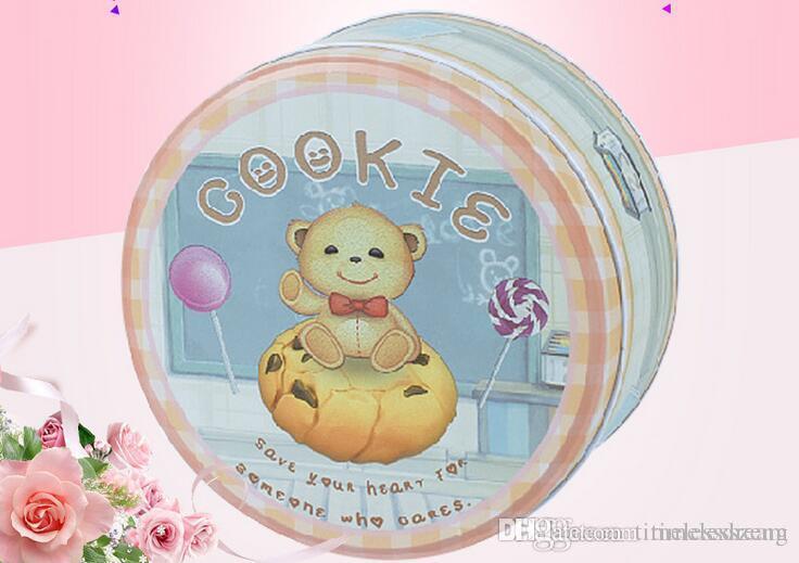 21 Estilo Galletas Cox hojalata caramelo Caja redonda Confitería galletas de chocolate Food Packaging Hoja de la caja de regalo del hierro