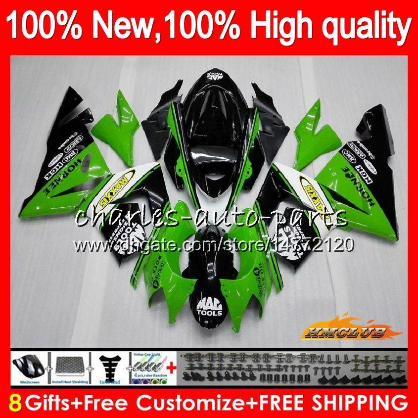 Corpo per Kawasaki ZX 1000 cc ZX 10 R ZX10R 04 05 Carrozzeria 43HC.18 ZX10R 04 05 vendita calda verde ZX1000CC 1000CC ZX 10R 2004 2005 carenatura kit