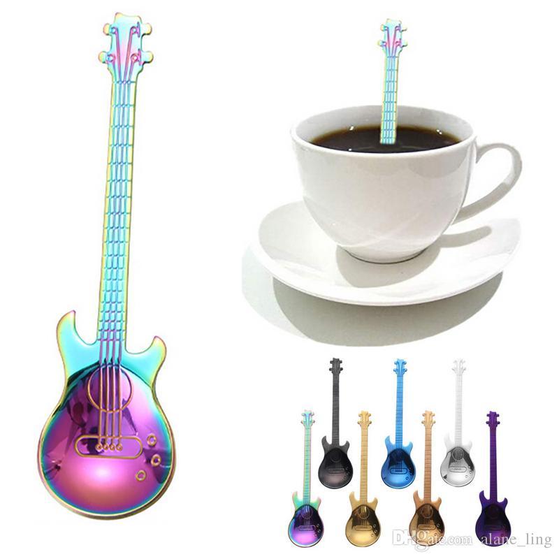 1pcs stainless steel musical instruments guitar spoon milk coffee tea spoon *tr
