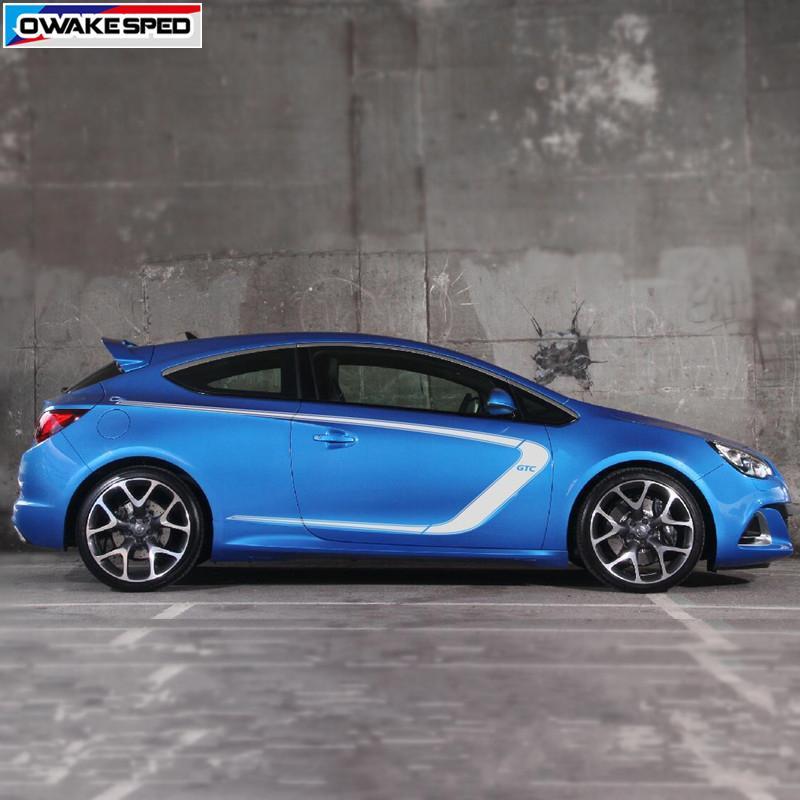 Pour Opel Astra GTC Racing Sport Styling Vinyle Decal Auto Body Porte Côté Décor Autocollants De Protection De Voiture Accessoires