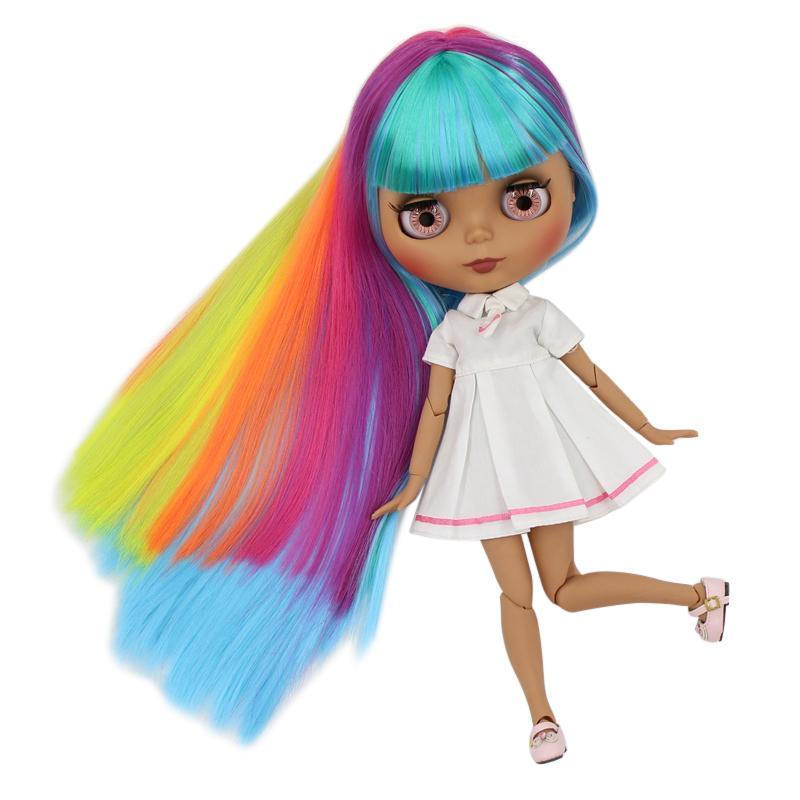 ICY fábrica de pele escura boneca blyth organismo conjunto novo rosto fosco cabelo liso T200428 colorido fresco brinquedo DIY presente sd