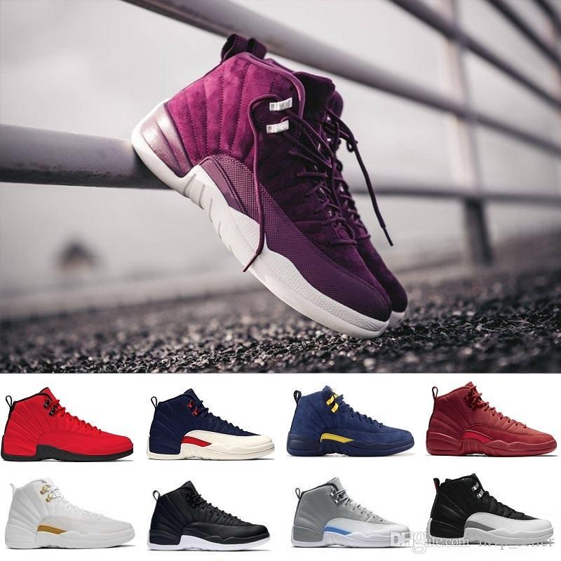 Con la caja de zapatos de baloncesto 12 J12 diseño 12s hombres de las mujeres de taxi Playoffs Gamma Azul Gris NYC roral el invierno retro zapatillas de deporte