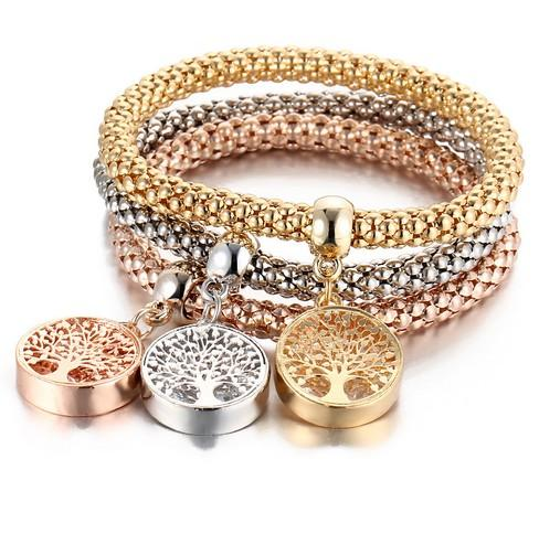 The Tree Of Life Popcorn Bracelet Set Girl/Ladies Elastic Rope Multi Layer Corn Chain Bracelet Sets
