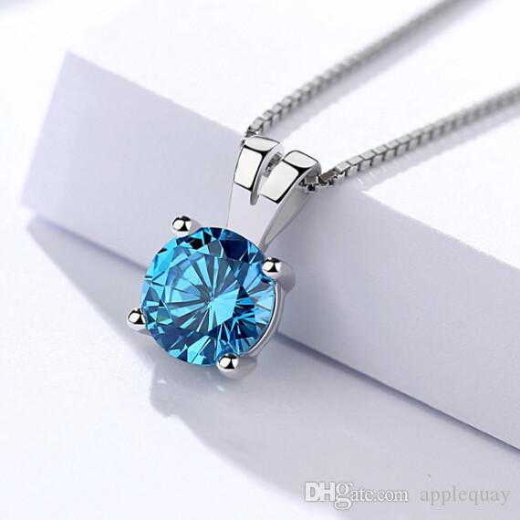 925 Pendants Women's Necklaces Sterling Silver Jewelery Square Small Blue Crystal Charming Fashion Gifts All-Match Accessories 13*8mm 6 pcs