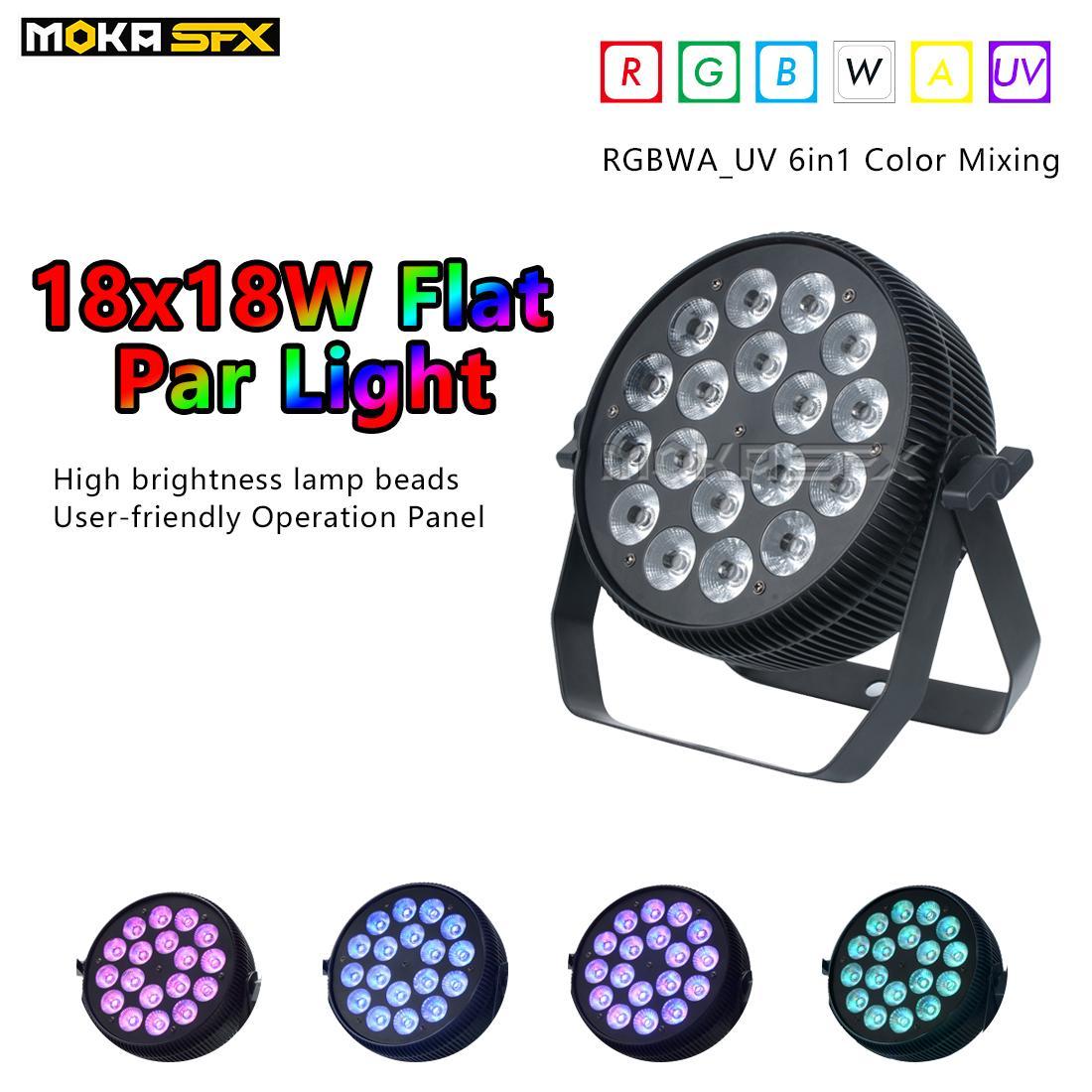 2pcs / lot Son Profesyonel Disco Işıklar LED Par 18 * 18W RGBWA + UV Düz Dj Par Işık Sahne Işıkları için Düğünler Gece Kulübü Parti Işıklar