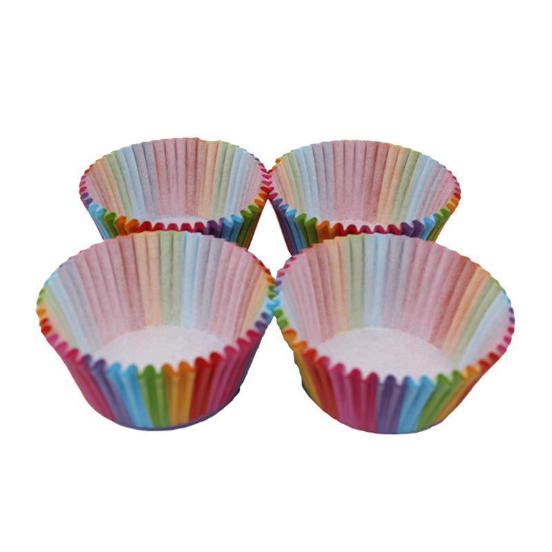 Cozinha Cozimento 100 Pcs Arco-íris De Papel Cup Cupcake Papel Muffin Festa Bandeja Bakeware Stands Cupcake Capas De Casos Decoração De Festa de Casamento
