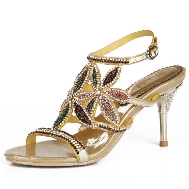 G-moineau Nouveau grande taille de diamant d'or de mariage en cristal haut Sandales à talons strass épais talon chaussures élégantes