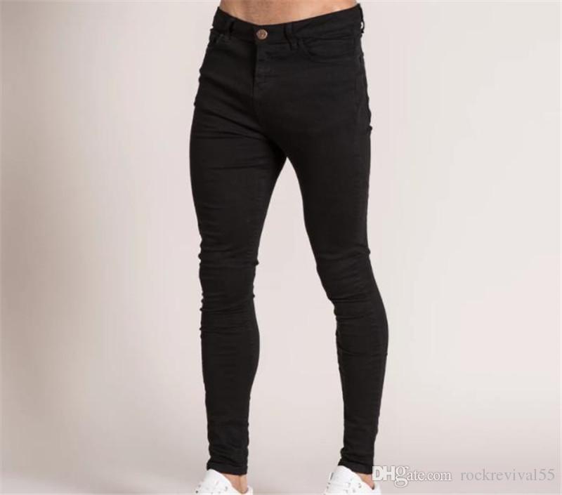 Slim Mens Designer jeans stretch Fori lavati lunghi Jeans Uomo Primavera denim maschio casuale dei pantaloni lunghi