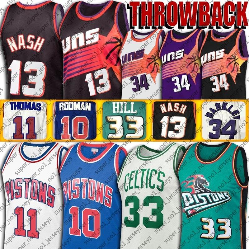 Vintage Steve Charles Nash Barkley jersey Larry Grant Bird Hill jerseys Dennis Isiah Rodman Thomas basketball jerseys bad boys era