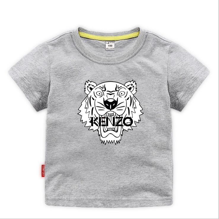 KNZO Moda Çocuklar t Gömlek Çocuk Yaka Kısa kollu T gömlek Erkek Giyim Markaları Tops Katı Renk Tees Kızlar Klasik Pamuk 1 T
