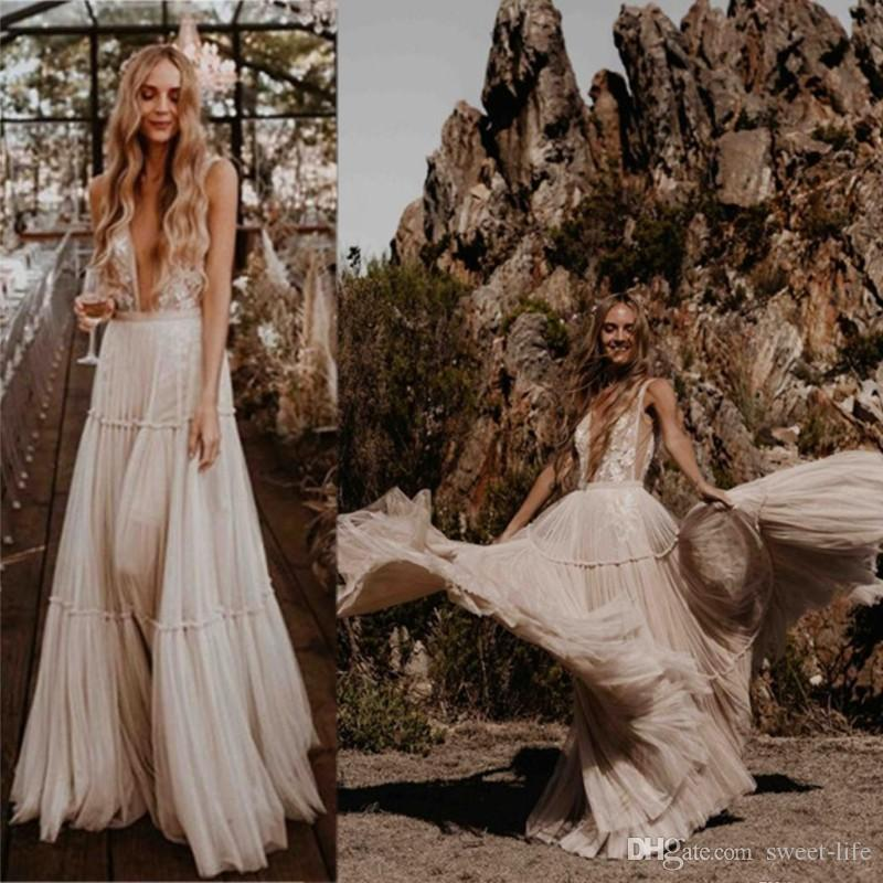 2020 Vintage col en V profond à long Plus Size ligne Robes de mariée Boho plage dentelle Bohème Robes de mariée sexy dos nu Robe de Noiva