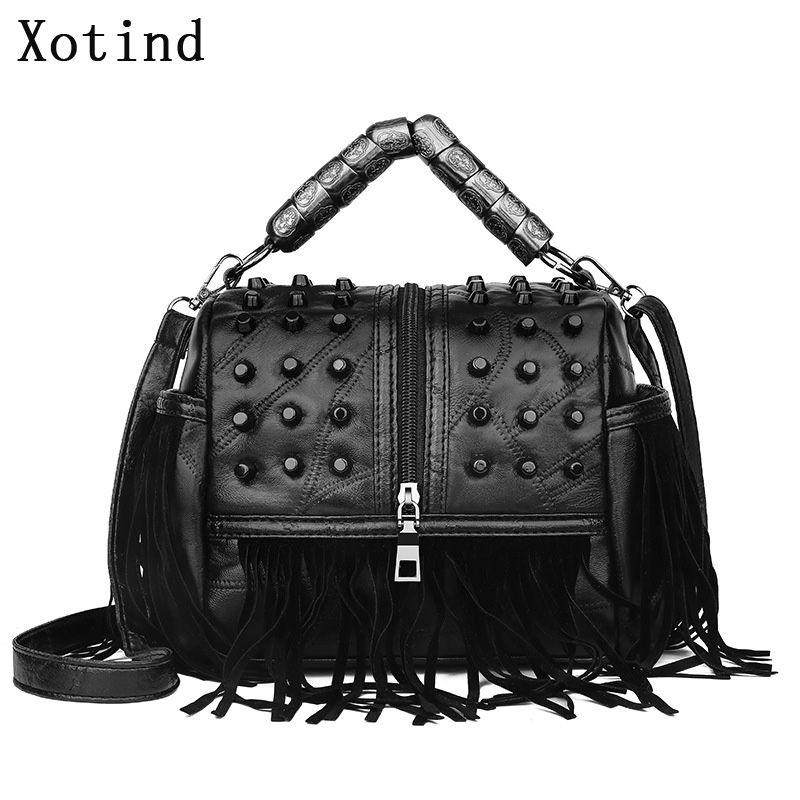 Luxury Vintage женщины посыльного сумки Tassel Женский мешок плеча конструктора высокого качества из натуральной кожи женщин сумки Bolsa