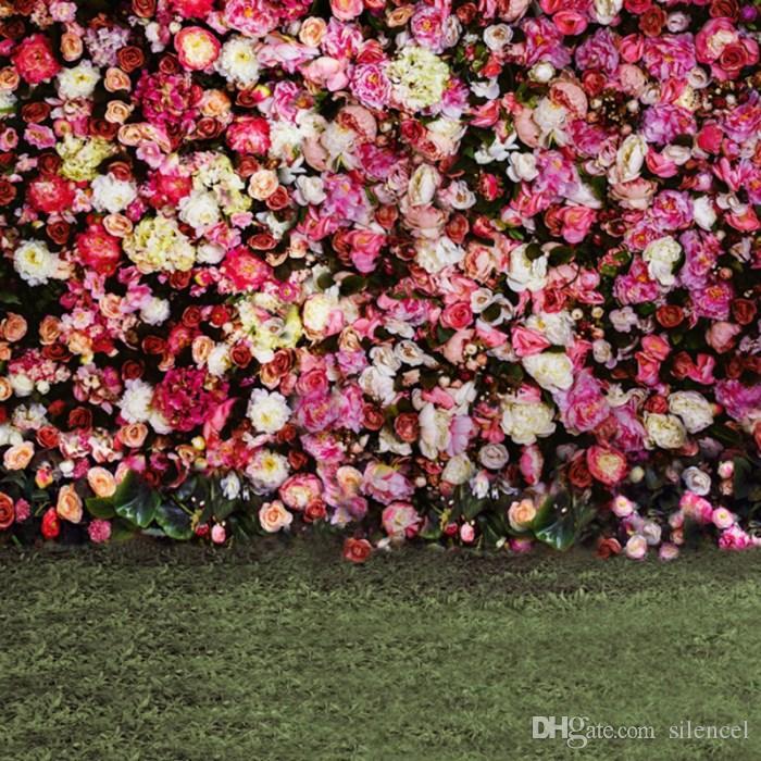 Fiore parete Fondali 3D Fiori Wedding Photography Backdrop 8X8ft Vinyl photo Sfondo per il Baby Shower compleanno decorazione del partito